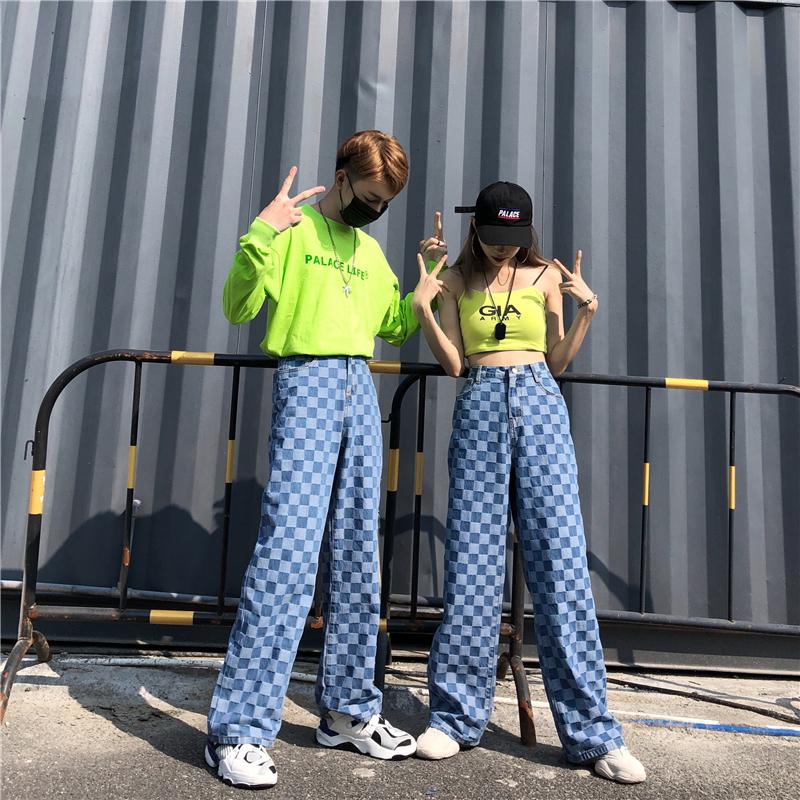 Loose Big Size Trousers Plaid