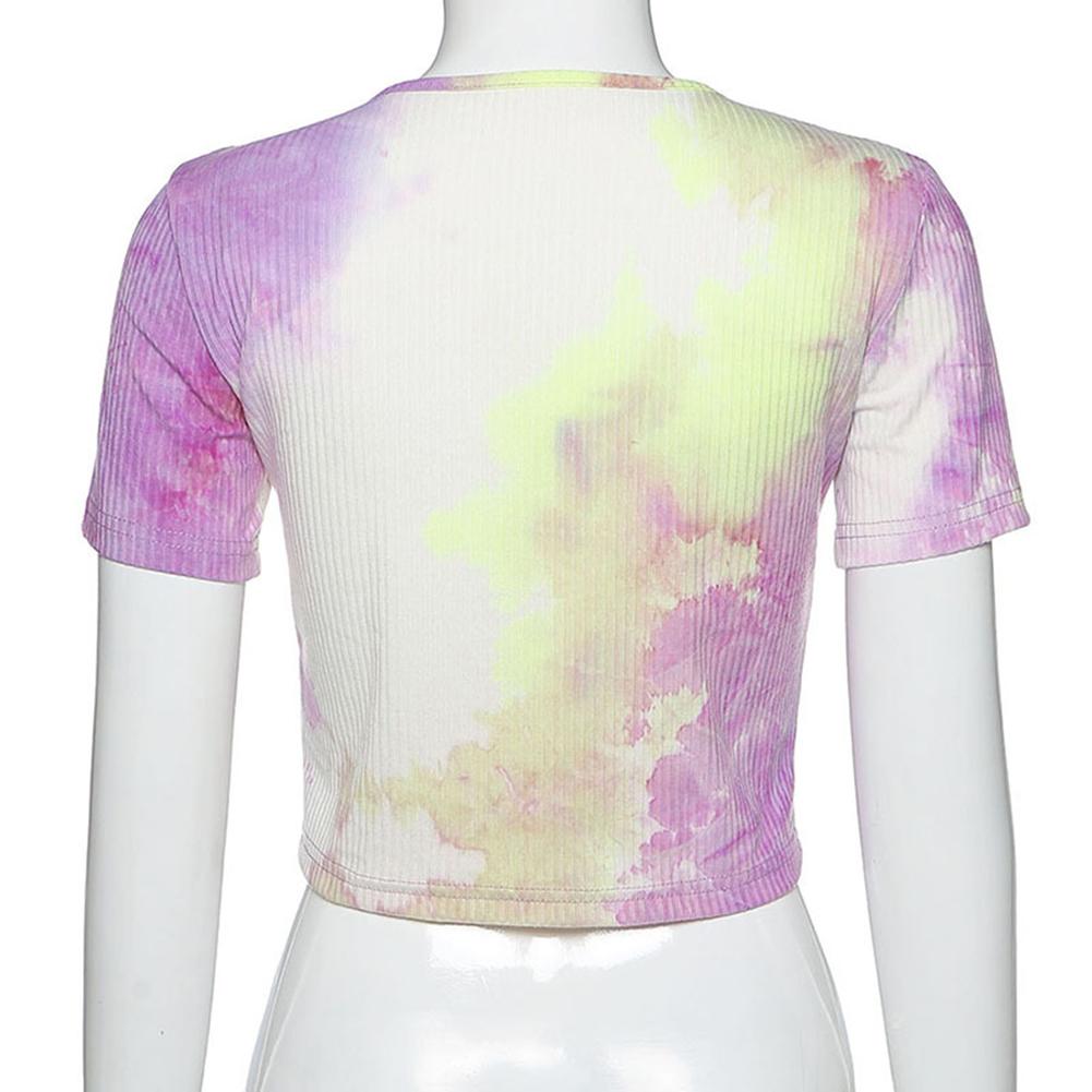 O-Neck Tie Dye Butterfly crop top