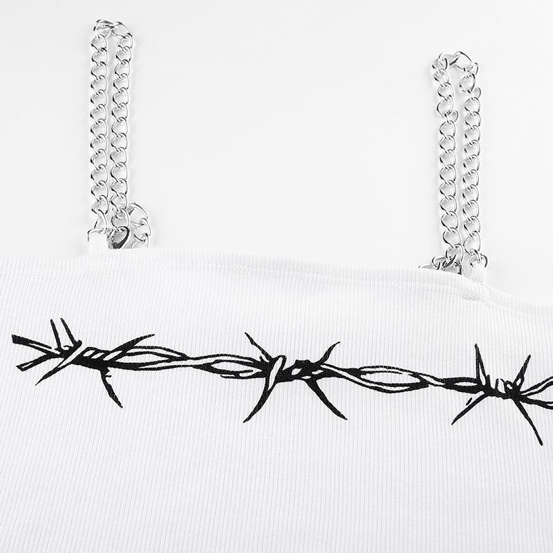 Crop top Metal Chain Floral Print
