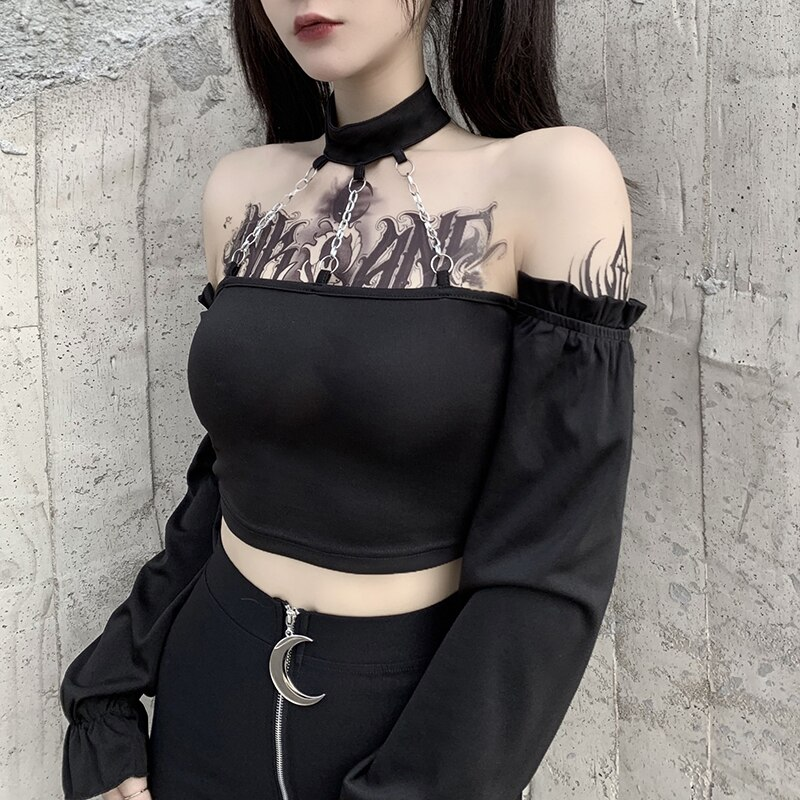 Gothic hollow out halter t-shirt long sleeve