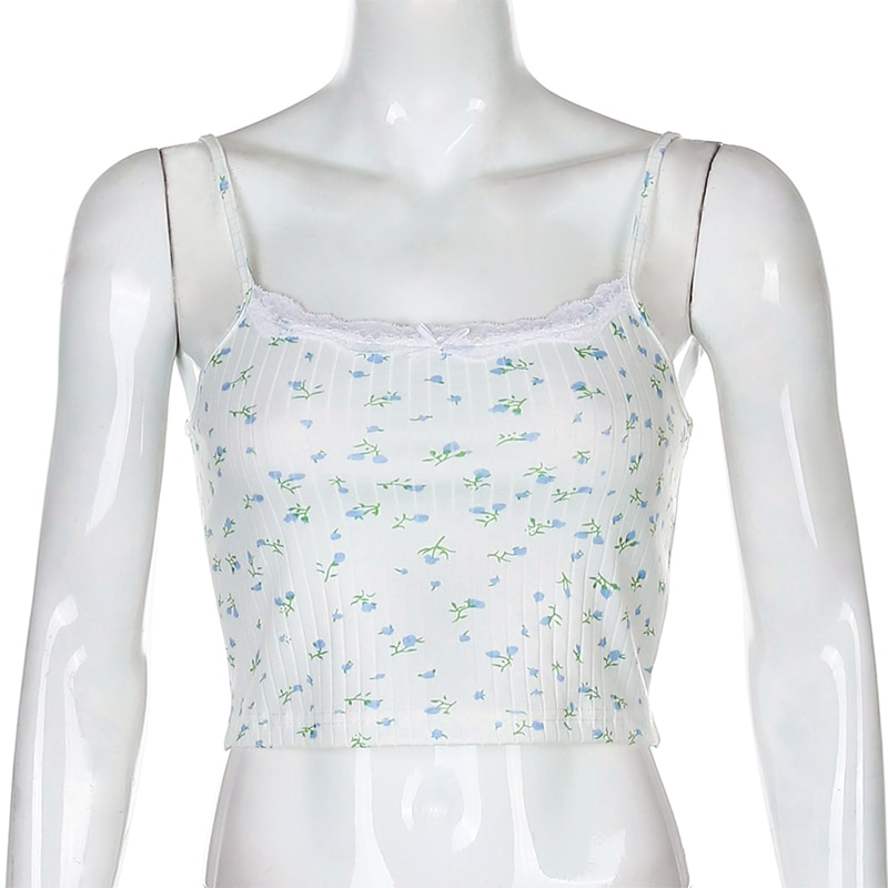 Floral Printed Kintted Spaghetti Strap Top
