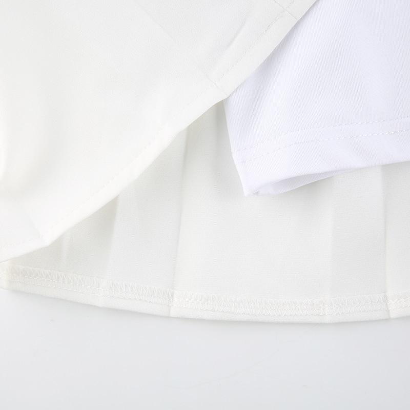 Mini Pleated Skirts Shorts Letter Print