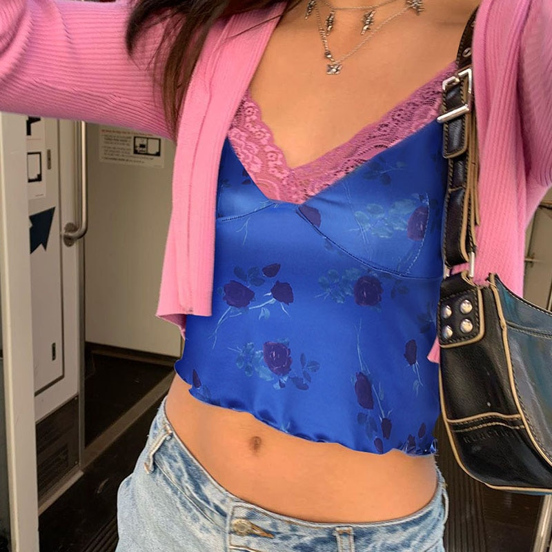 Lace Sleeveless flower Crop Too.