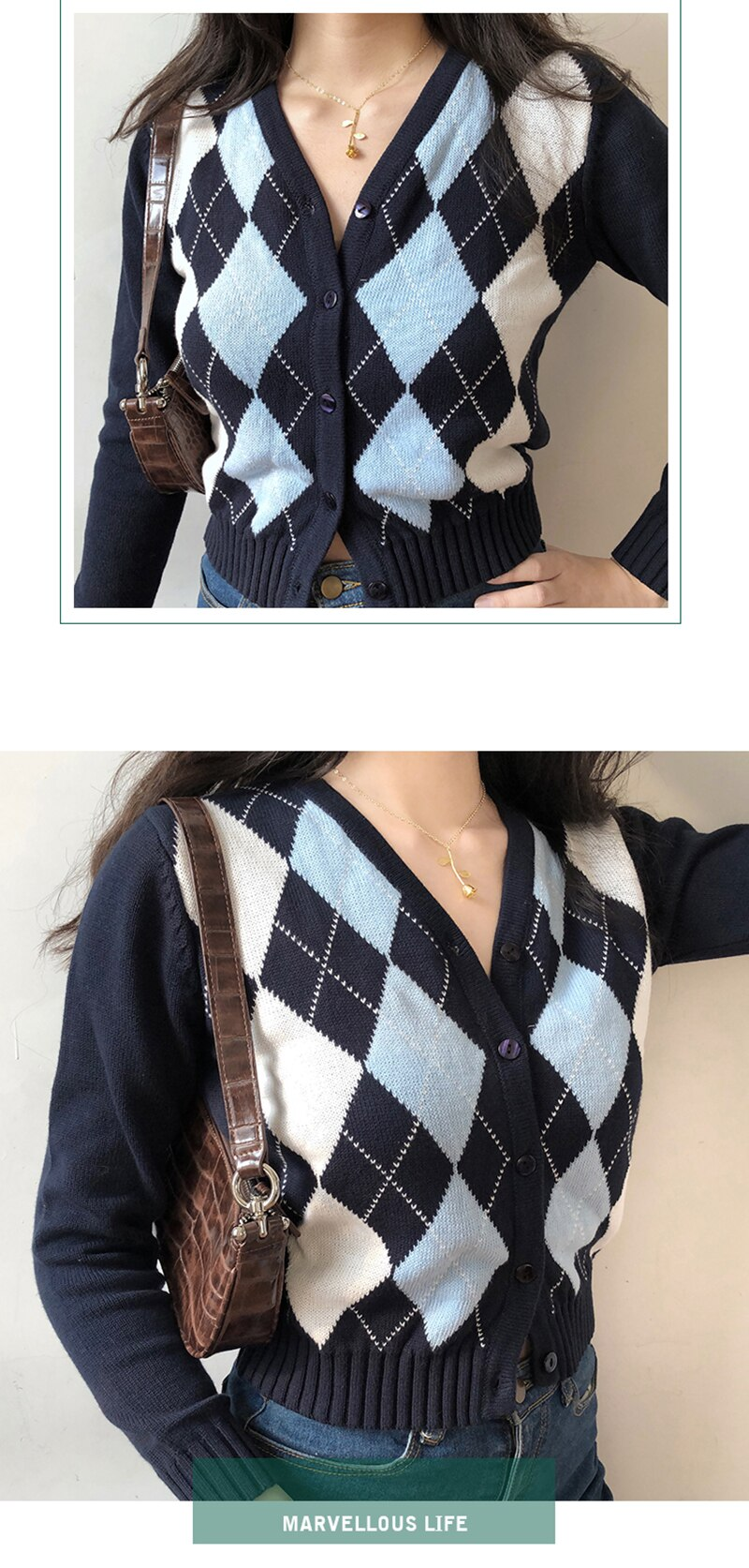 90s Plaid Knitted Cropped Cardigan