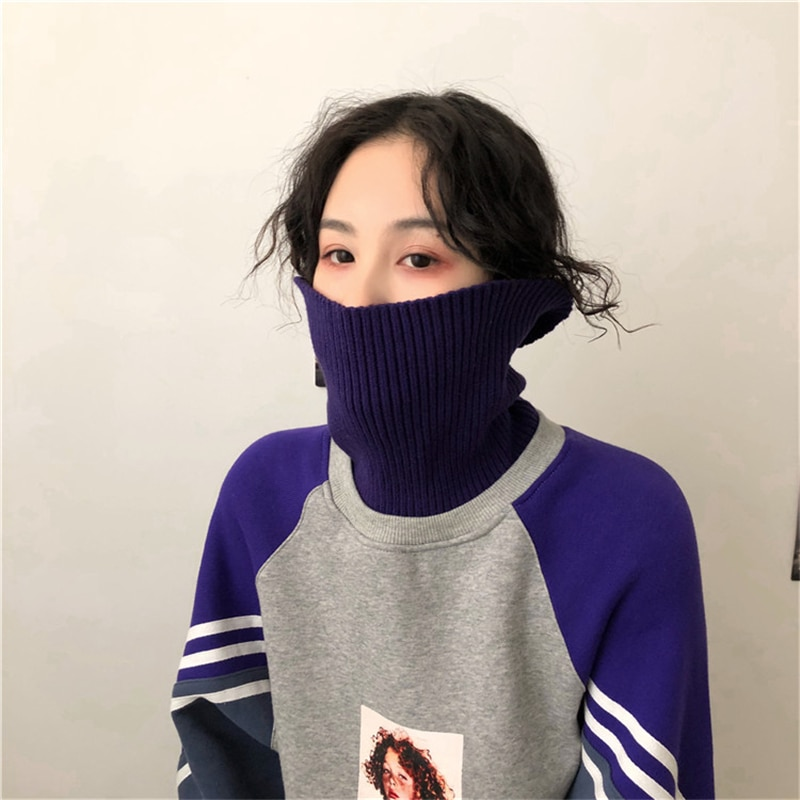 Aesthetic girl print thick hight collar knitted sweater