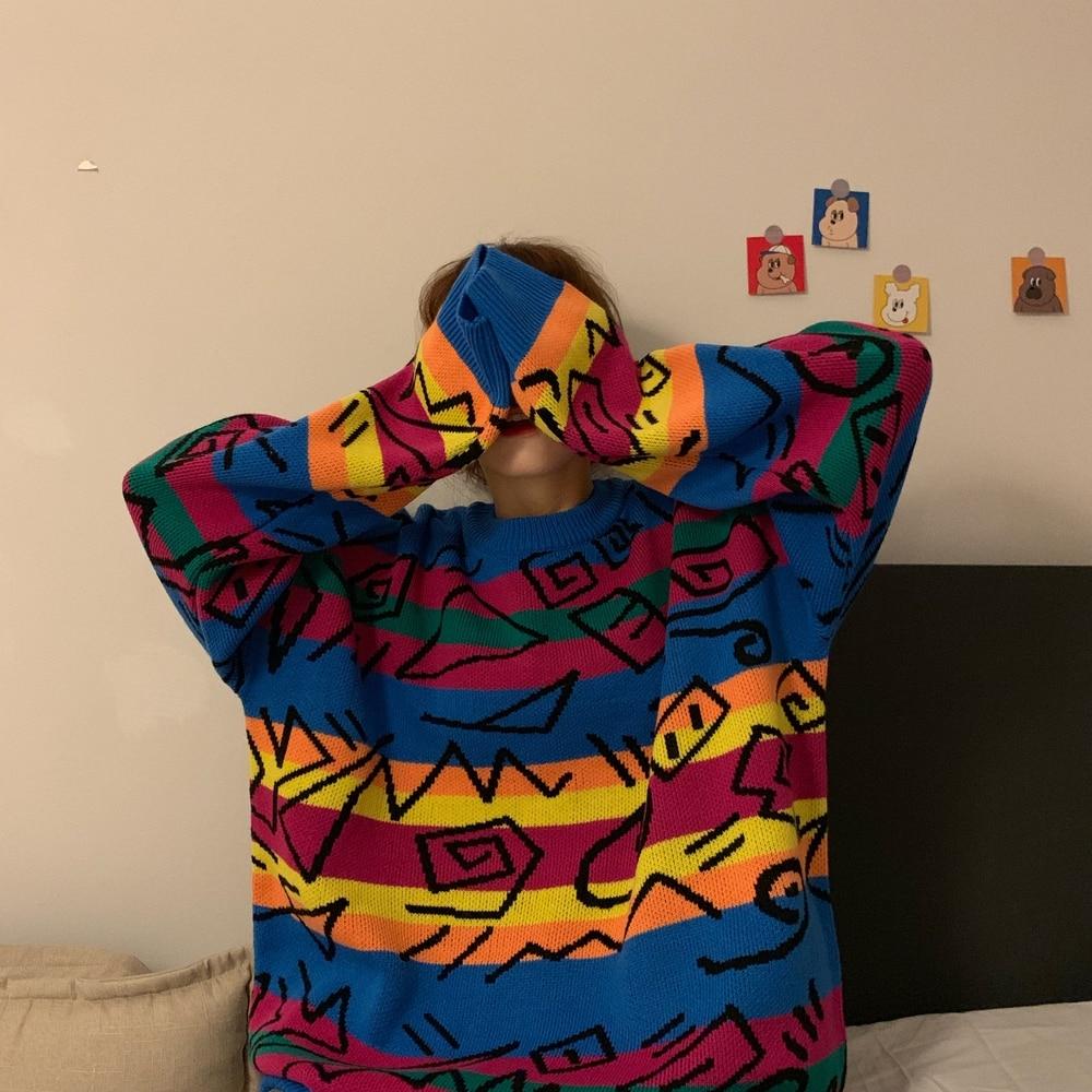 Rainbow Striped Knit Sweater