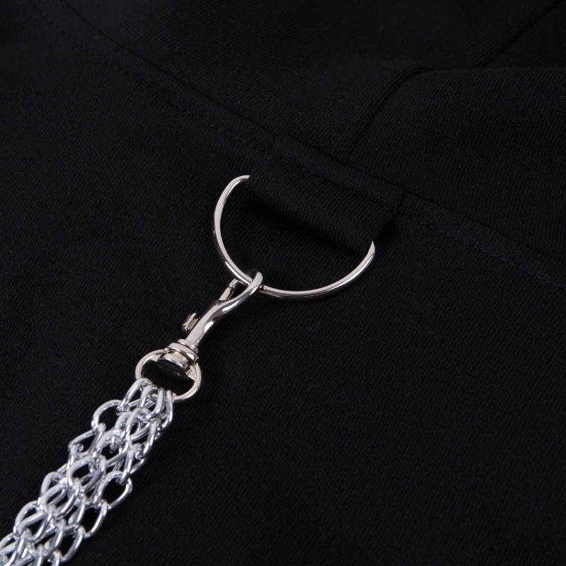 Cropped Loose Chain Patchwork Hoodie