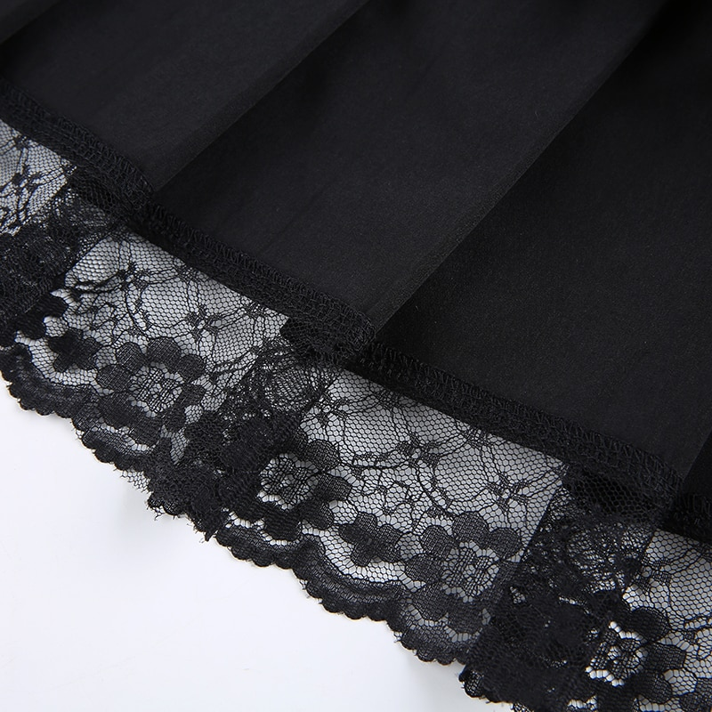 Lace Up Goth Y2K Mini Skirts