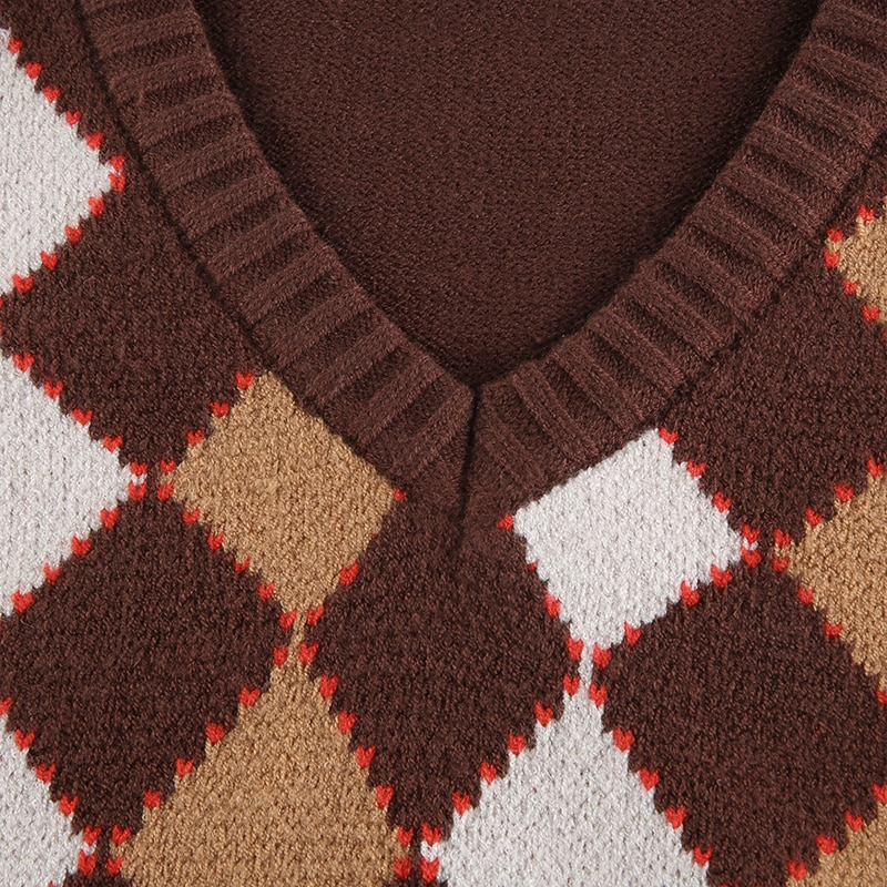 Brown Argyle Plaid Knitted