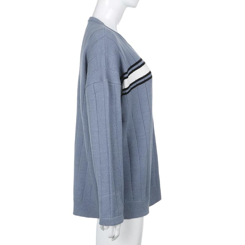 Striped V Neck Oversized Sweater