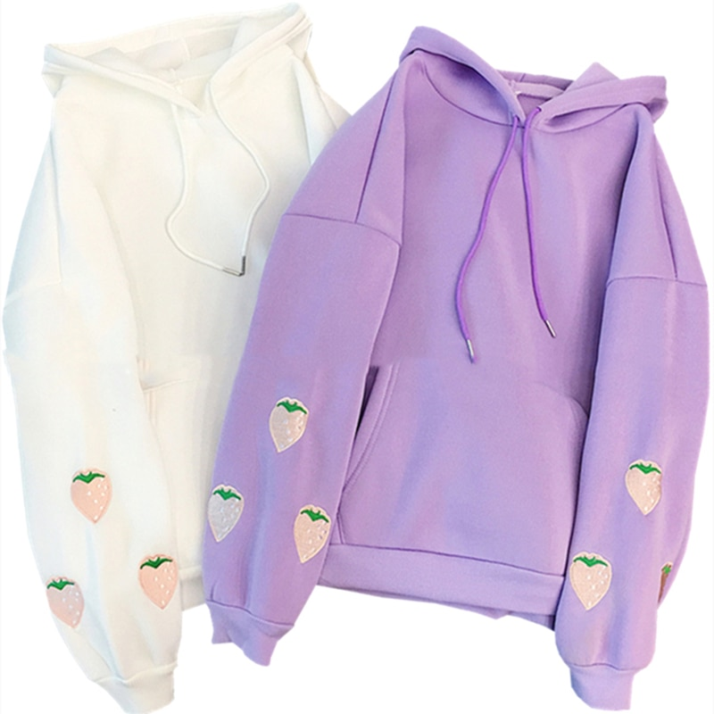 Strawberry Embroidery Oversized Hoodies