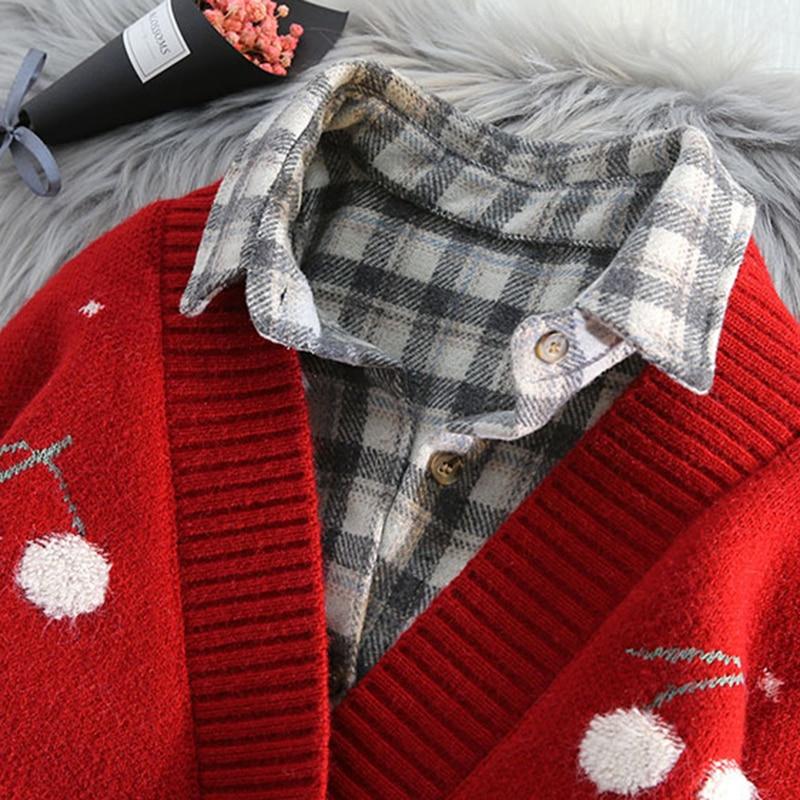 V Neck Cherry cardigan Sweater