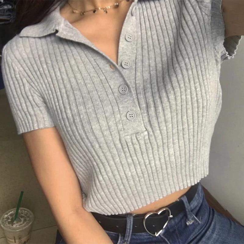 Ribbed Casual T-shirt Turn-down Collar