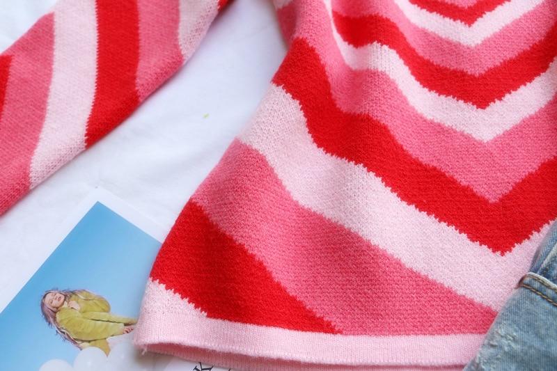 Heart Striped Turtleneck Sweater