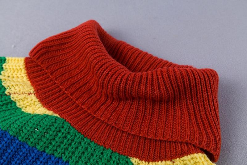 Rainbow turtleneck sweaters