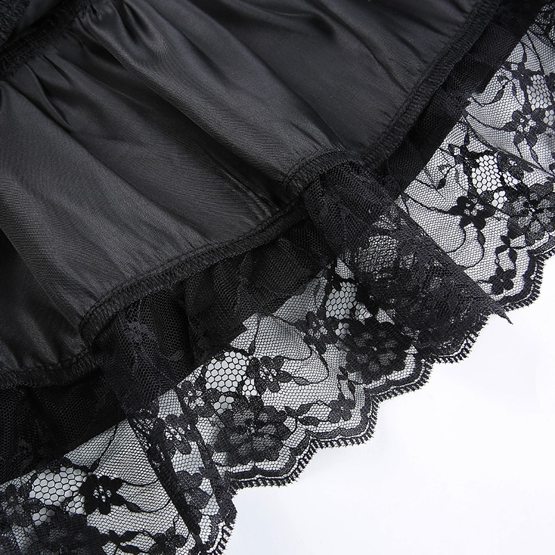 Goth Pleated Skirts Lace Trim