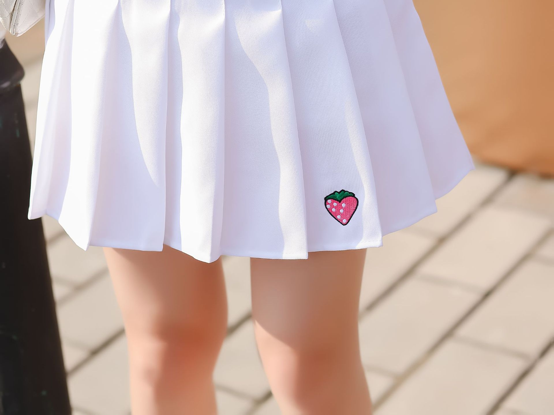 Strawberry Embroidery Pleated Skirt