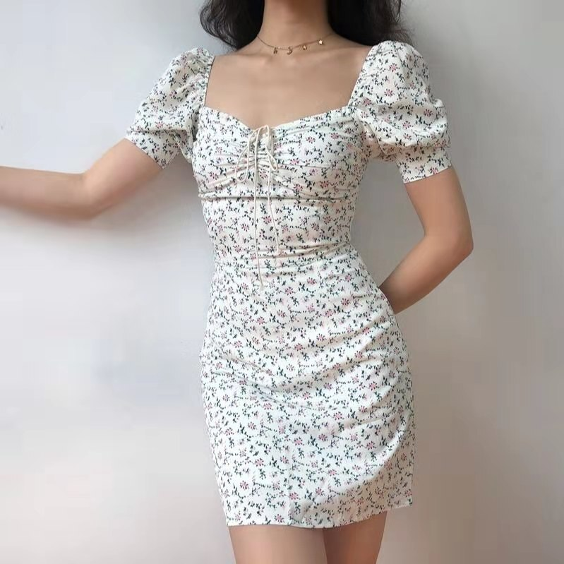 Wild Floral Vintage Lace French Dress