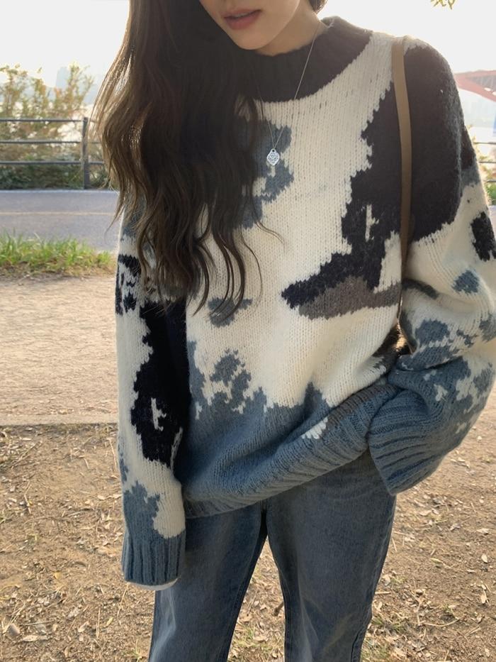 Oversized Camouflage Print Sweater