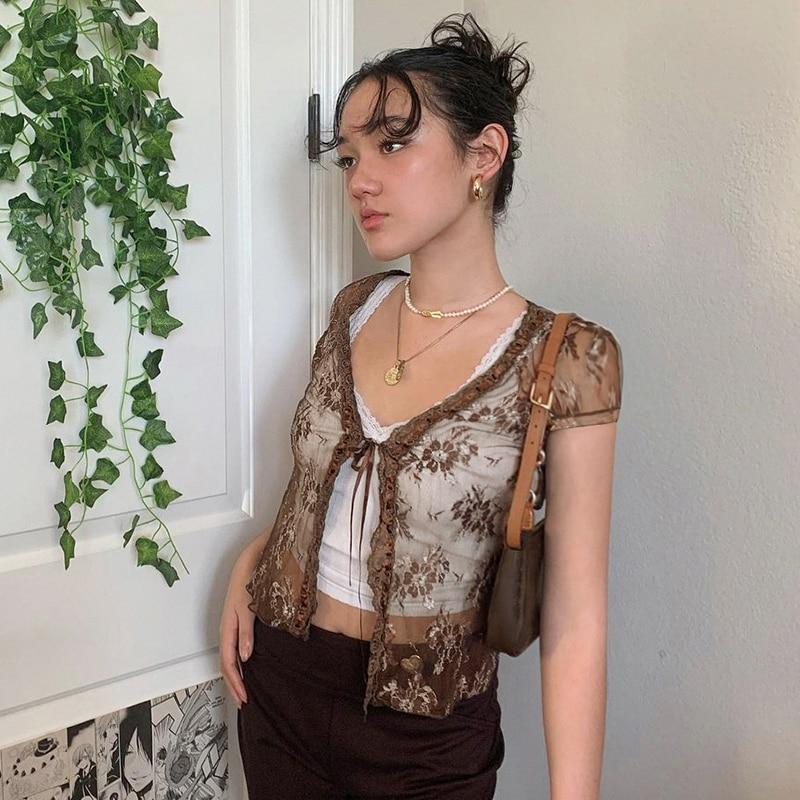 Sheer mesh lace Top Short Sleeve