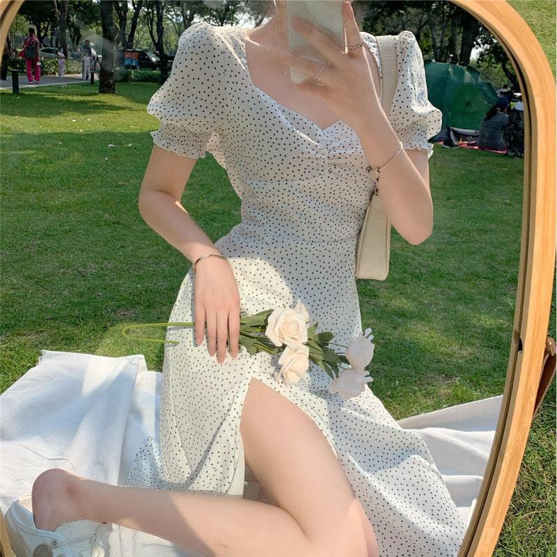 French Chiffon Dress Point Print Vintage dress