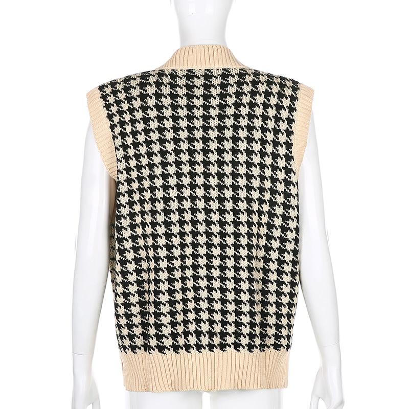 Vintage V Neck Houndstooth Sweater Vest