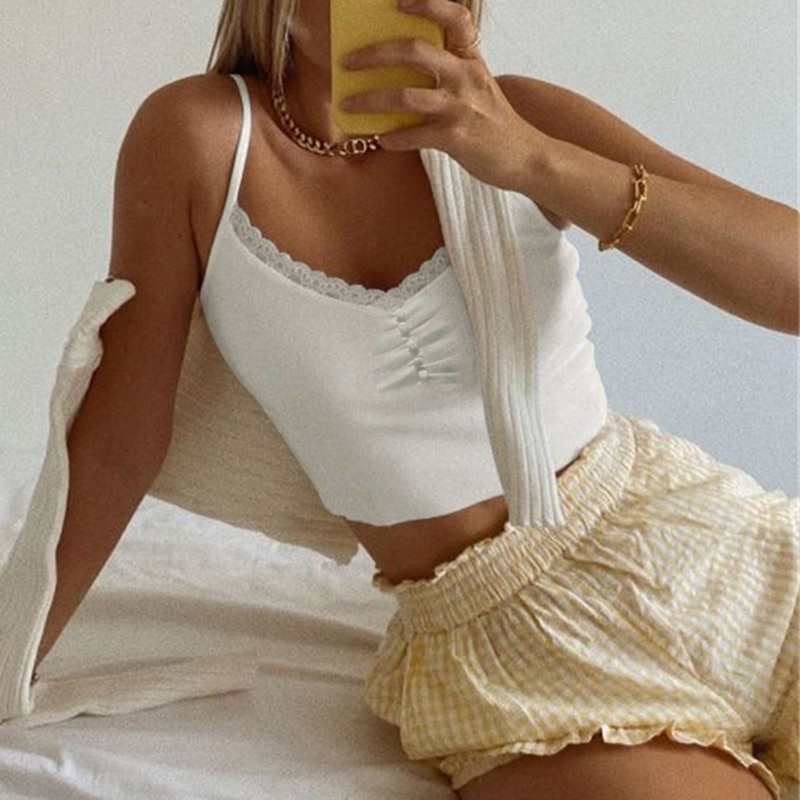 White Ribbed Lace Cami Top