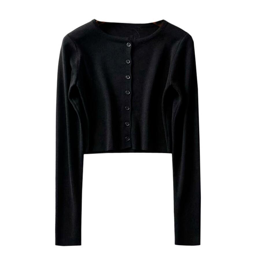 Long-Sleeve Button-Up Knit Crop Top