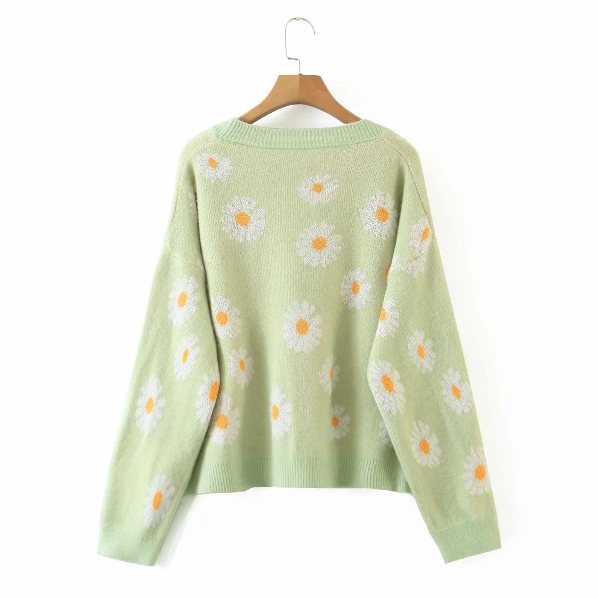 Coat Flower V-Neck Cardigan Sweater