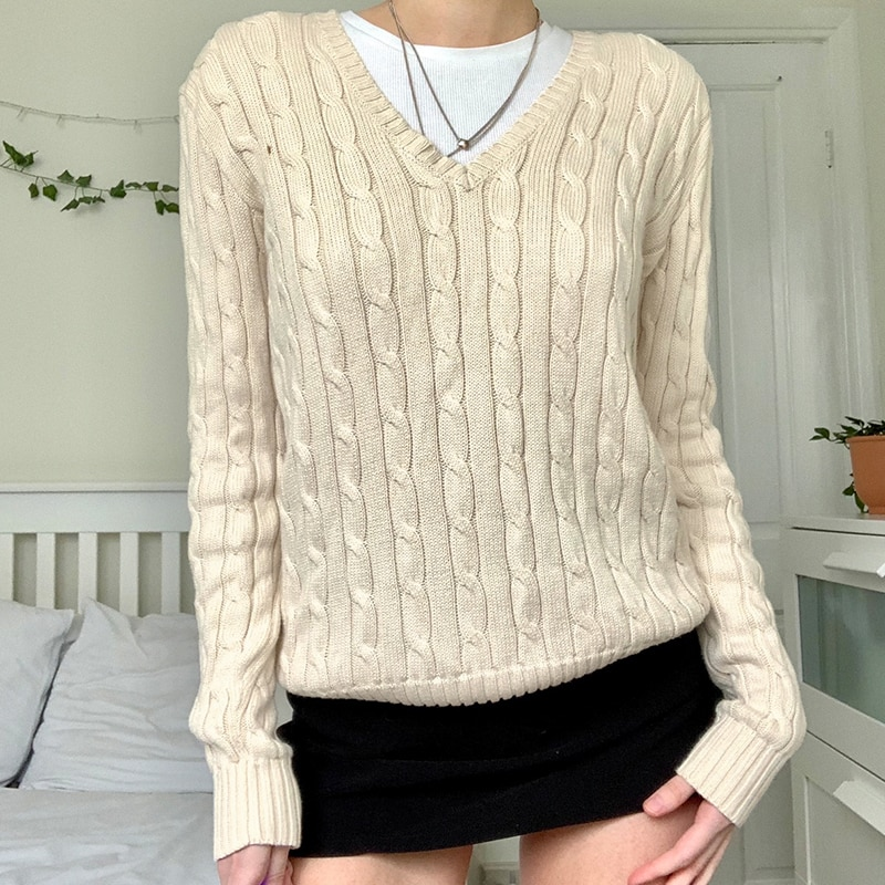 Long Sleeve Knitted Oversized Sweater y2k